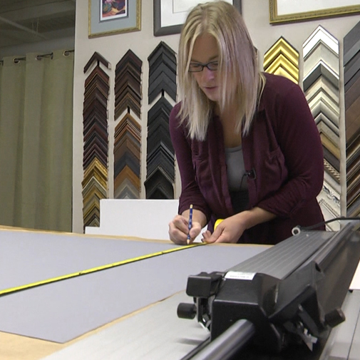Custom framing using high quality framing materials and supplies