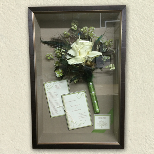Framing your special memories like wedding bouquets, invitations, and other pieces from your wedding day